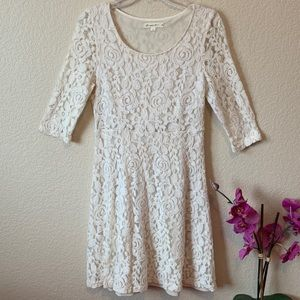 Anthropologie Comme Toi Ivory Floral Lace Dress M